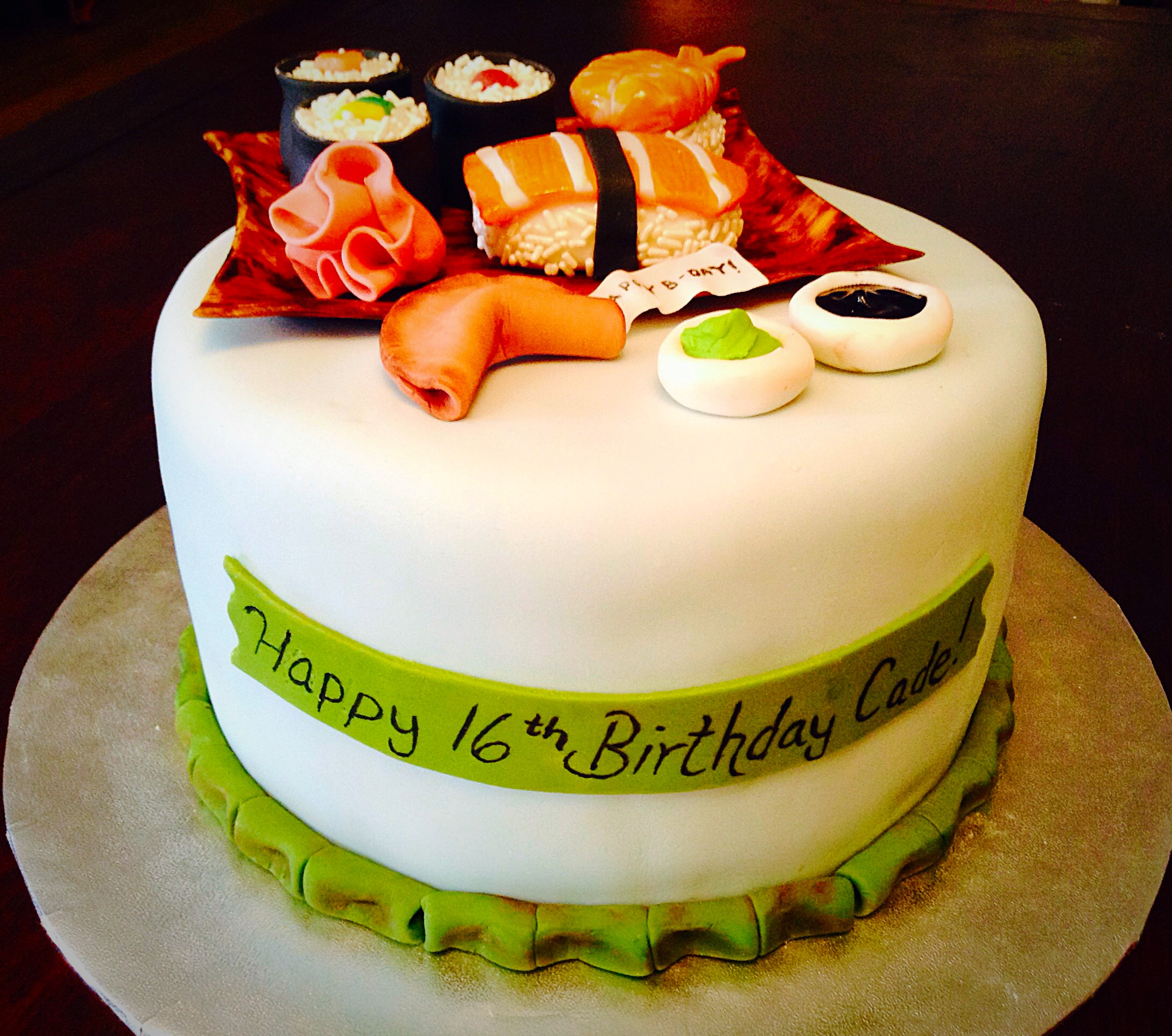 Excellent Sushi Themed Cake The Baking Owl Personalised Birthday Cards Veneteletsinfo