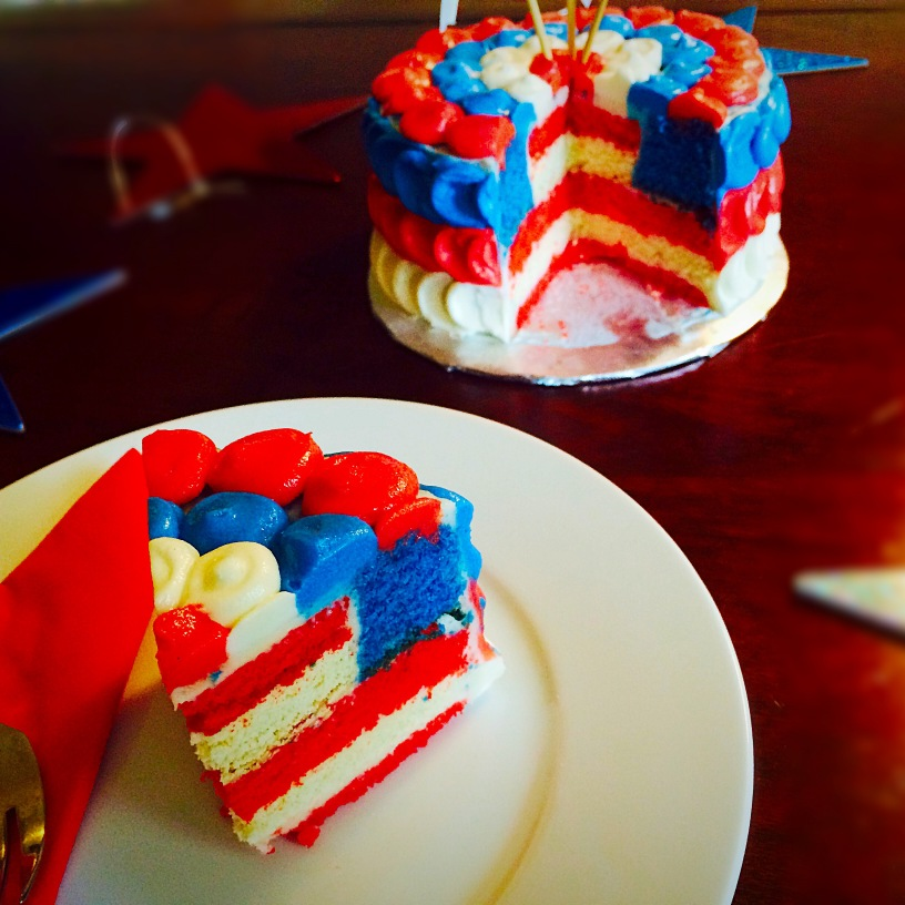 4th of July Surprise Flag Cake