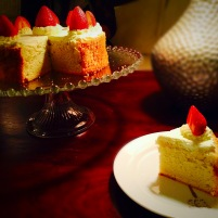 Vanilla Chiffon Cake w/ Cream & Strawberries