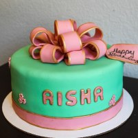 Cake4kids Mint & Pink Bow Cake